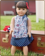 18 inch Doll Pillowcase Dress - Blue/Red Pattern