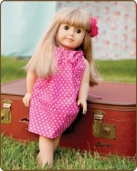 18 inch Doll Pillowcase Dress -  Hot Pink Dots