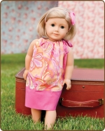 18 inch Doll Pillowcase Dress - Pink/Orange Pattern