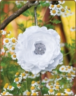 Ruffled Ranunculus Flower Clippie White