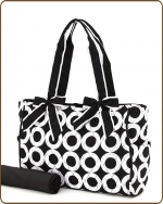 Quilted Medium Circle Print  Diaper Bag Black/White