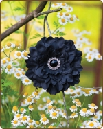 Dahlia Flower Clippie Black - 3.5 inch