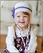 Purple Flower White Hat