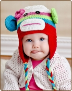 Multi-Color Girl Sock Monkey Hat