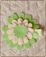 Felt Clippie - Green/Yellow/Pink Flower