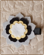 Felt Clippie - Grey/Black/Yellow Flower