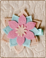 Felt Clippie - Khaki/Blue/Pink Flower