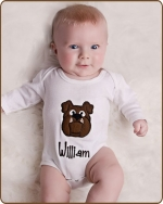 Brown Bulldog White Bodysuit
