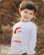 Santa White Long Sleeve Boys Tshirt
