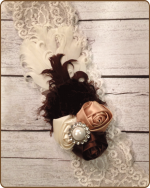 Vintage Brown/Cream Lace Headband