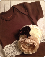 Brown Bodysuit with Vintage Sash and Removable Flower