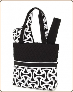 Quilted Retro Design 3Pc Diaper Bag Black/White
