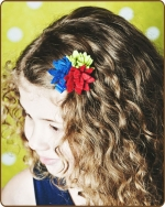 Felt Clippie - Blue/Red/Lime Flower