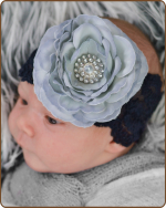 Grey Ruffle Ranny on Black Lace Headband