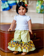 Doll Ruffled Pants - Yellow/Red
