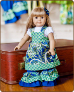 Doll Tie Back Dress - Blue/Green