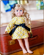 Doll Peasant Sleeve Dress - Yellow/Black