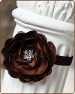 Chocolate Flower Fold Over Elastic Headband