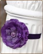 Dark Purple Flower Fold Over Elastic Headband