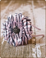 Blushing Pink Zebra Flower Satin Lined Metal Headband