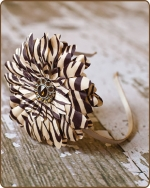 Brown Zebra/Beige Flower Satin Lined Metal Headband