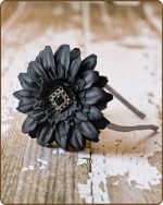 Charcoal Black Flower Satin Lined Metal Headband