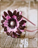 Chocolate/Pink Mix Flower Satin Lined Metal Headband