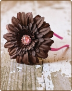Chocolate Flower Pink Satin Lined Metal Headband