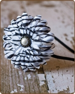 Classic Zebra Flower Satin Lined Metal Headband