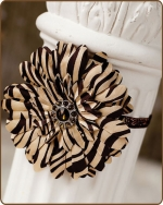 Chocolate Zebra Flower Glitter Elastic Headband