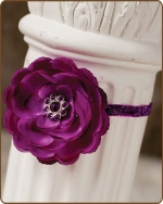 Dark Purple Flower Glitter Elastic Headband