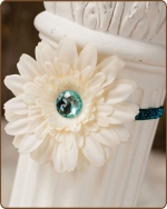 Cream/Teal Flower Glitter Elastic Headband