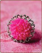Madeline Filigree Ring in Hot Pink