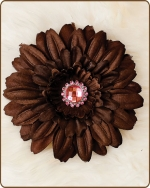 Daisy Flower Clippie Brown/Pink