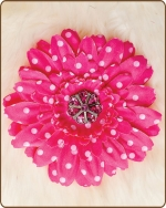 Daisy Flower Clippie Hot Pink Polka Dots