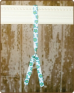 Ribbon Toggle Headband Blue Flowers