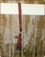 Ribbon Toggle Headband Brown w/Pink Polka Dots