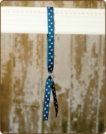 Ribbon Toggle Headband Navy/Pink Polka Dots