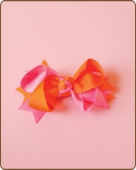 Boutique Twisted Bow Orange/Hot Pink