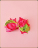 Boutique Twisted Bow Shocking Pink/Apple