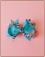 Boutique Twisted Bow Turquoise Zebra