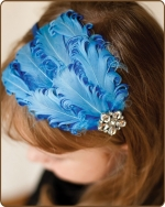 Blue/Dark Blue Feather Headband