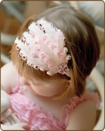 Cream/Lt Pink Feather Headband