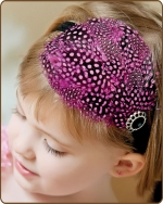 Fuchsia Dyed Guinea Feather Headband