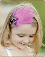 Fuchsia/Black Dot Feather Headband