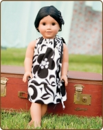18 inch Doll Pillowcase Dress - Black/White