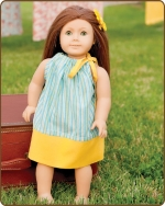 18 inch Doll Pillowcase Dress -  - Blue/Yellow Stripes