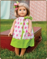 18 inch Doll Pillowcase Dress - Pink/Green Polka Dots